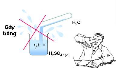 Không được đổ nước vào axit sunfuric đậm đặc